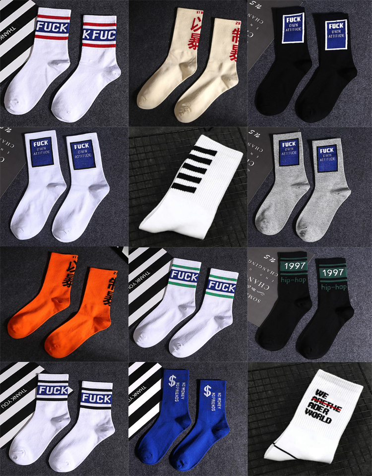 Hip-Hop Fashionable Brand Cotton Men Autumn Winter Street Casual High   Socks   Spring Character Solid Striped Sport   Socks