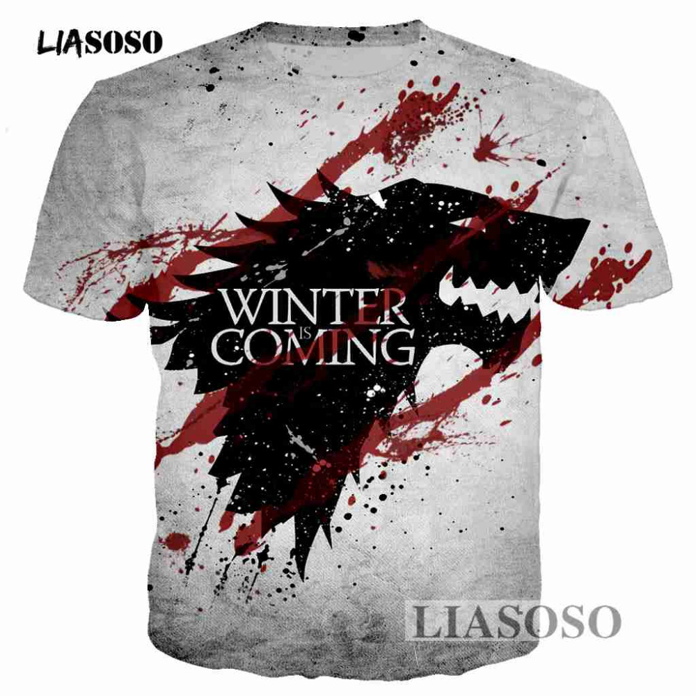 LIASOSO Pullover New Game of Thrones The white walkers Ghost 3D Printed Men T-shirt Mans tshirt Skull Tees Cool t shirt T3426