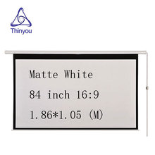 Thinyou Matte White Fabric Fiber Glass Curtain Motorized Screen 84 inch 16:9 Electric Screen With Remote For LED DLP Projector