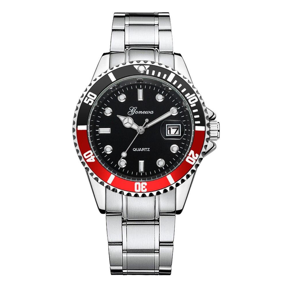 2018 Luxury Fashion Watches man GONEWA Men Fashion Military Stainless Steel Date Sport Quartz Analog Wrist Watch dropshipping