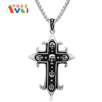 AMGJ Oversized Pendant Necklace Skull Skeleton Titanium Steel Punk Male Necklace Halloween Gift Jewelry Box Chain 27.6