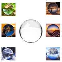 H&D Clear Crystal Glass Sphere Ball with Stand, 3.15/80mm K9 Crystal Ball Photography Prop Decoration Art Decor