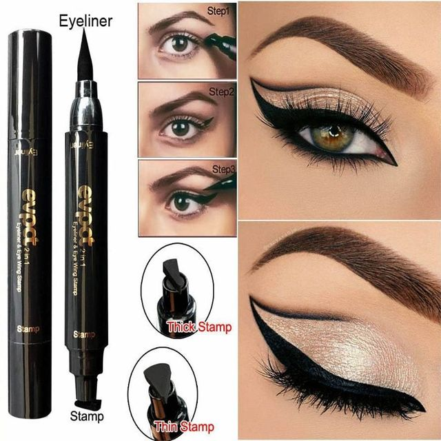 1 Pc Charming Cat Eye Winged Eyeliner Sexy Cosmetic Seal Stamp Wing Double Head Waterproof