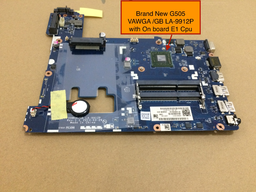Brand NEW For Lenovo G505 LA-9912P Motherboard with AMD E1-2100  CPU on board, Free Shipping brand new ziwb2 ziwb3 ziwe1 la b092p rev 1 0 for b50 70 laptop motherboard mainboard with with sr1ek core i3 4005u