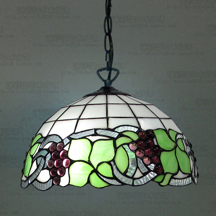 12inch Tiffany grape Stained Glass Suspended Luminaire E27 110-240V Chain Pendant lights for Home Parlor Dining Room