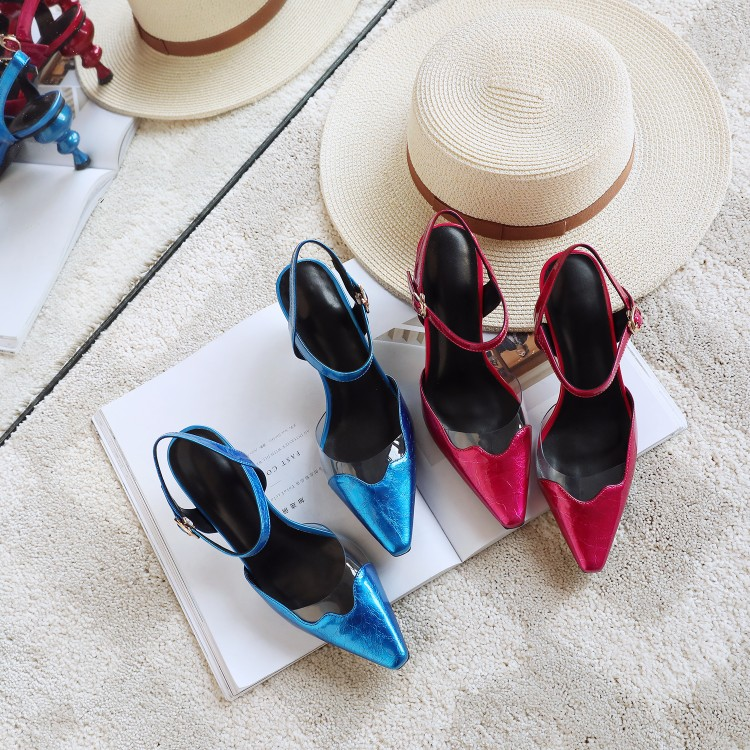 Mljuese 2018 여성 샌들 암소 가죽 버클 스트랩 붉은 색 slingbacks 이상한 발 뒤꿈치 지적 발가락 높은 뒤꿈치 샌들 파티 드레스-에서하이힐부터 신발 의  그룹 1