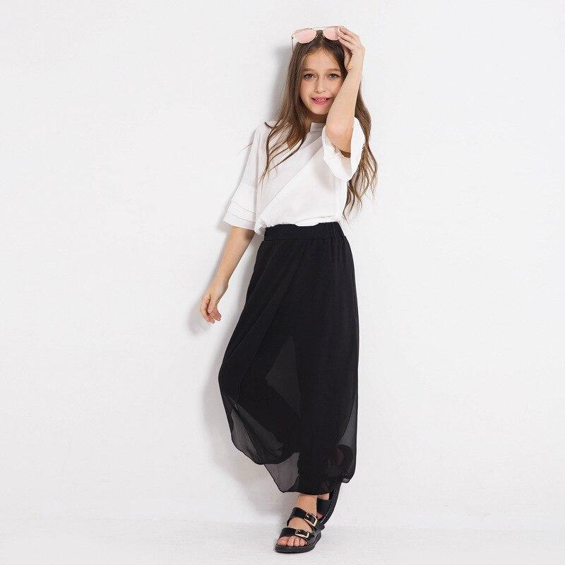 Big Kids Pants Top 2pcs Chiffon Girls Clothing for 6 8 10 12 14 Summer Girl