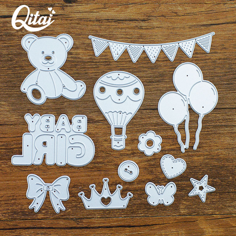 QITAI 12PCS/SET GIRL BABY Metal Cutting Dies For DIY Scrapbooking Creative Decoration Die Cutter Craft Kids Handmade MD345