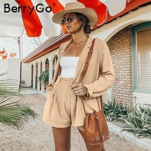Image 2 - BerryGo Elegant  женский короткий костюм шорт  Elegant двухсекционный женский короткий костюм шорти Повседневная уличная женский блейзер