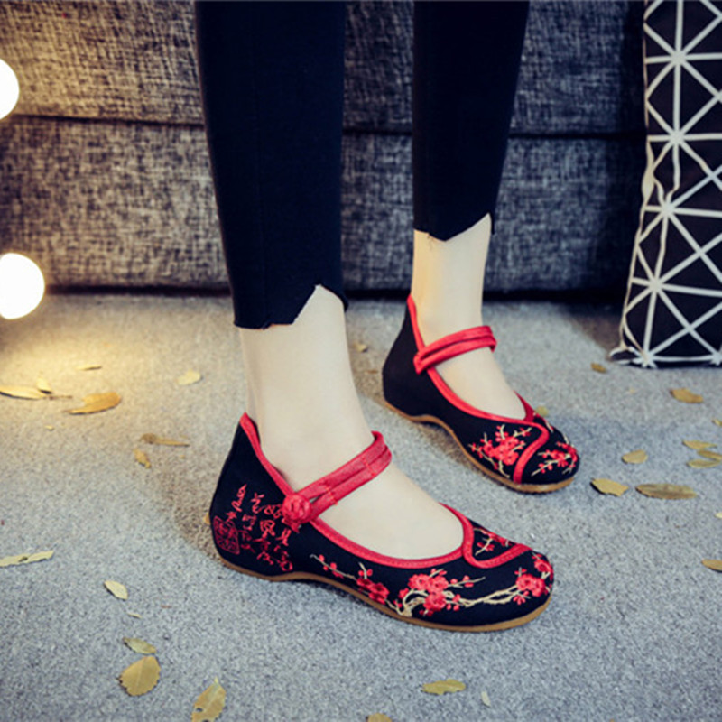 Handmade Women Flats Summer Old BeiJing Embroidery Shoes Chinese National Embroidered Canvas Women's Singles Dance Ballet Shoes
