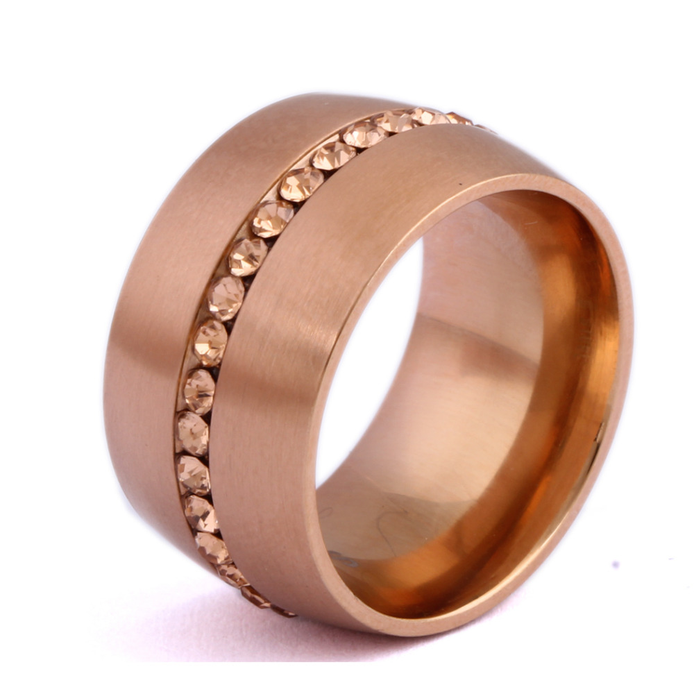 classic rose gold color crystal wedding ring stainless