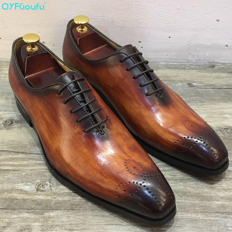 QYFCIOUFU Luxurious Italian Genuine Leather Men Brown Khaki Wedding Oxford Shoes Lace-Up Office Business Suit Mens Dress Shoe
