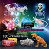 Free Shipping LED Flash 3D Crystal Puzzle Jigsaw Model DIY Gadget Animals Panda Shark Birds Dinosaur