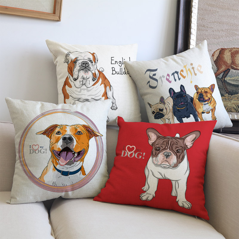 Cartoon Cute Animal Pet Dog American French British Bulldog Bordeaux Pillow Case Home Pet shop Sofa decoration Cushion Cover
