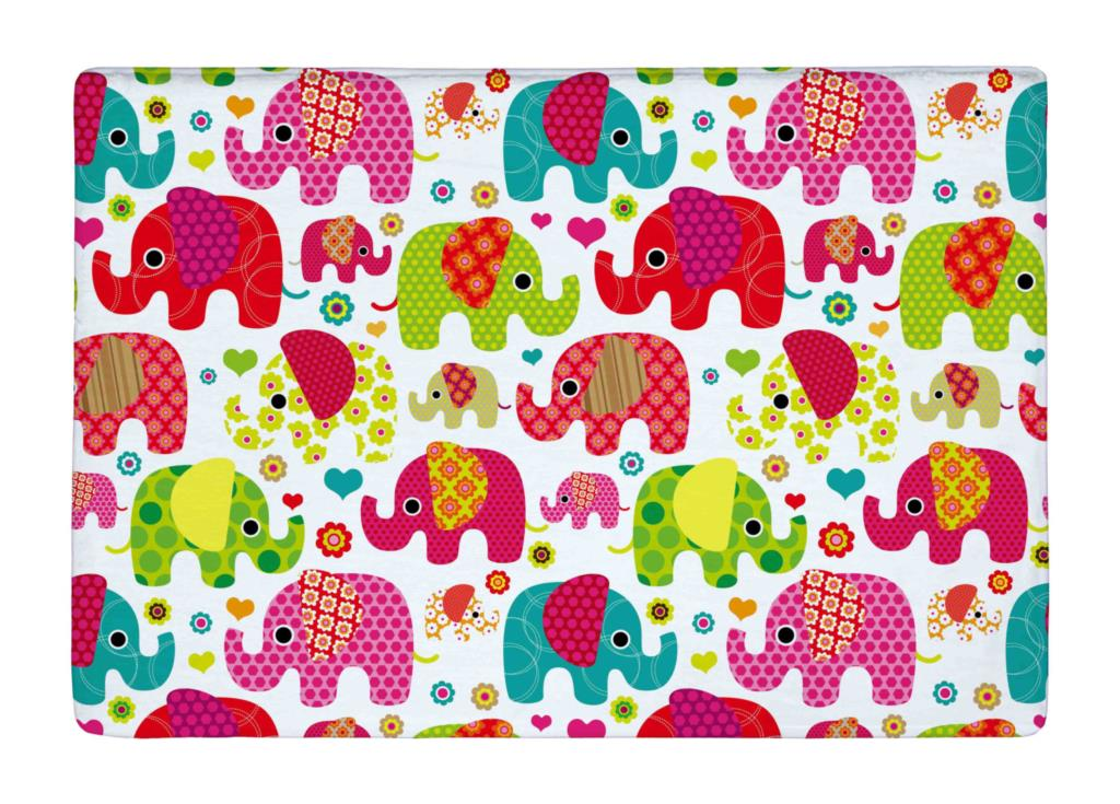 Floor Mat Colorful Seamless Retro Elephant Kids Print Non slip Rugs ...