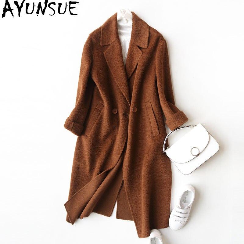 AYUNSUE Automne Hiver Manteaux de Femmes Femelle Alpaga Veste Double-côté Laine Manteau Femmes Vestes abrigos mujer invierno 2018 WYQ1253