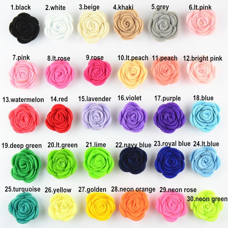 30pcs/lot 1.6'' Mini Felt Rose Flower Headband DIY Making Material Apparel Accessories 30 Color You Pick TH210