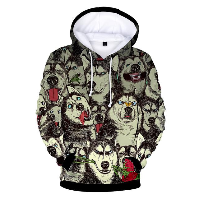 2018 BTS Tiger 3D Cool Hoodies Fashion Print Spring/Autumn Husky 3D Kawaii Warm Long Sleeve Popular Sweatshirts Hoodies Clothes
