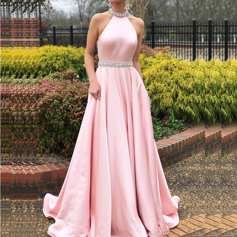 U-SWEAR Luxury Rhinestones Pink   Evening     Dress   Halter Sleeveless Backless Long   Evening   Pageant   Dresses   Formal Gown Robe De Soiree