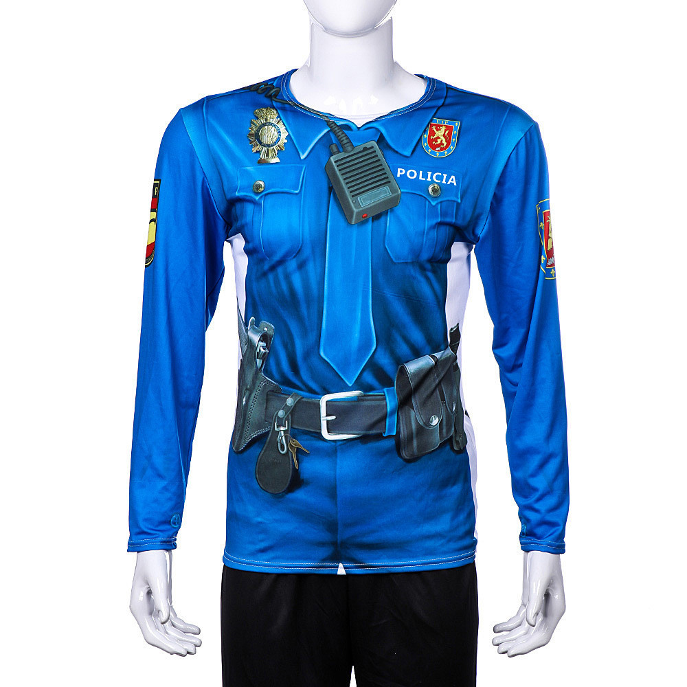 Carnival Halloween Spanish Police Uniform Cosplay 3D Print Long Sleeve T-Shirt Adult Fancy Dress Party Game costume tops