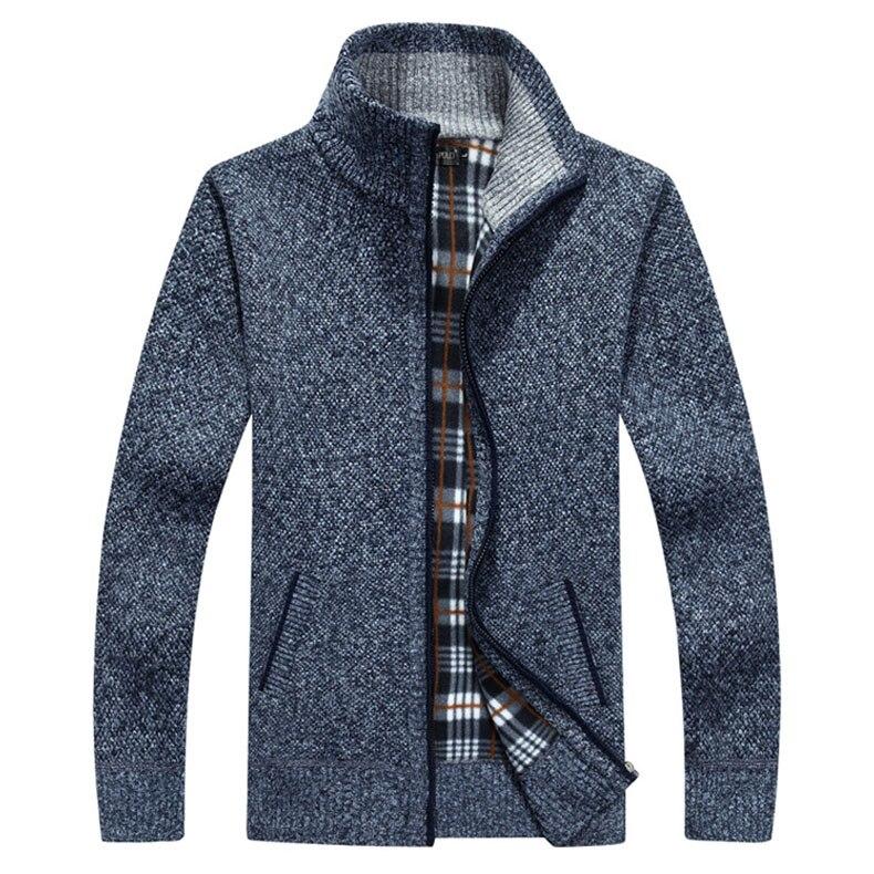 Marque décontracté rayé épais cardigan chandail mâle Zipper tricoté Cardigan pour hommes hiver hommes col roulé Cardigan 6117