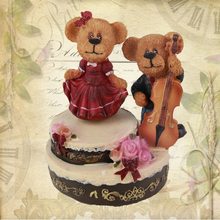Violin drum music box bell resin teddy bear musical box romantic musica gifts birthday gifts home decoration