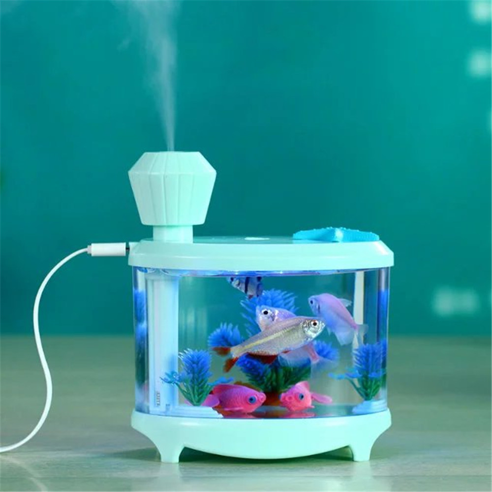 Fish Tank Style LED Humidifiers Ultrasonic Mist Maker Fogger Essential Oil Aroma Diffuser Mini Portable Air Humidifier for Home
