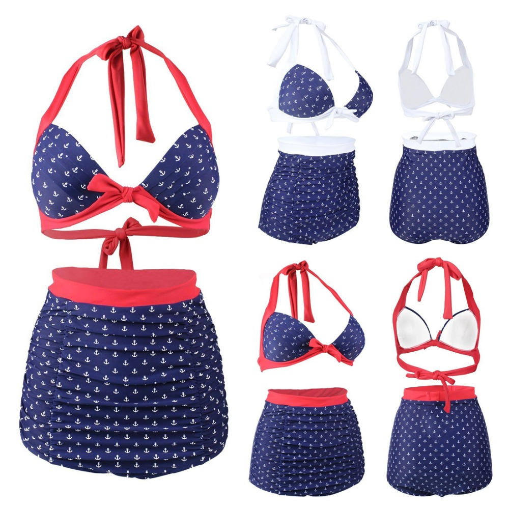 2016 Vintage Style Swimsuit Women Plus Size Swimwear Retro Bathing Suits Beachwear Padded Bikini Sets Print Swim Wear S To 3XL стул eveleen