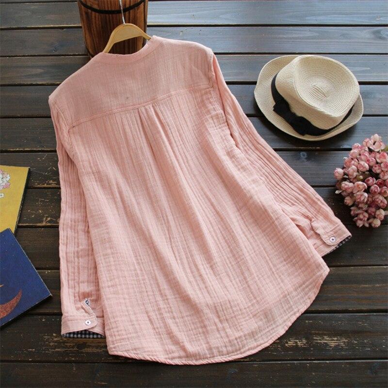 Talla Navy Verano Cuello Lino Grande De Elegante Botones Mujer Sueltas V Algodón Blusas white Casual En Manga Zanzea Larga Sólido Camisas pink Feminina E4RqWHHU