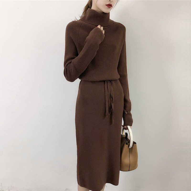 cb27d0fa3f6 Свободный свитер длинное платье женское осень зима отверстие длинный  пуловер вязаное платье теплые свитера тянуть на