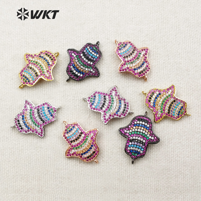 WT-MC212 Wholesale Custom New Design Micro Pated Colorful Cubic Zircon Connector Little Birds Small Pendants For Gift