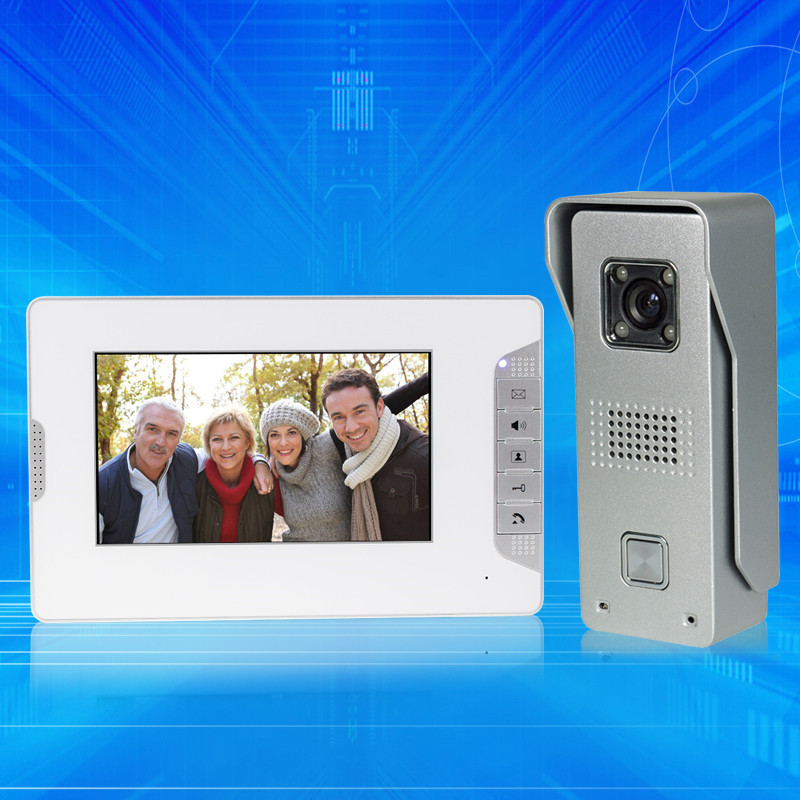 7 inch wired color video door phone intercom system 1monitor+ IR COMS outdoor camera video doorbell for home Free fast shipping outdoor video door phone camera for wired video doorbell