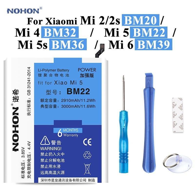 Nohon Bateria Para Xiao mi mi 5 BM22 5 2s BM20 4 BM32 mi mi mi mi 2 5S BM36 6 BM39 Bateria + Ferramentas Para Xiao mi mi mi 2 2s 4 5 5S 6 bateria