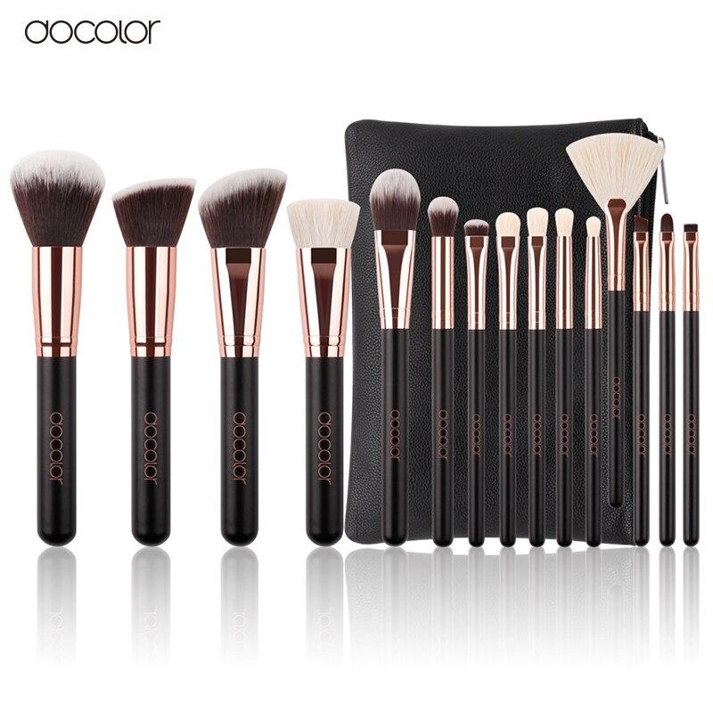 Docolor 15 stücke Make-Up Pinsel Set Ziege Borsten Synthetische Haar Kosmetik bilden Pinsel Pincel Maquiagem Pulver Pinsel Mit PU tasche