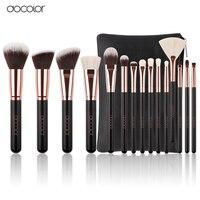 Docolor New 15 PCS Makeup Brushes Set Goat Bristle Synthetic Hair Cosmetics Kit Make Up Brush