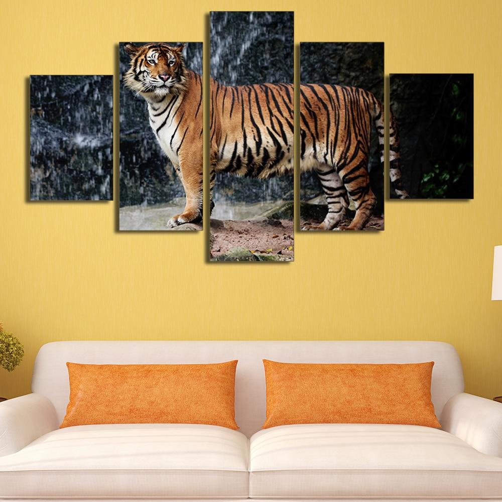 Unframed 5 Panels Big Tigers Glance Animal Canvas Print Home ...