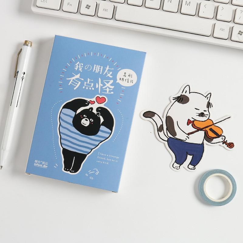 30 Sheets/Set Kawaii Funny Cat Bear Animal Postcard/Greeting Card/Message Card/Birthday Letter Envelope Gift Card