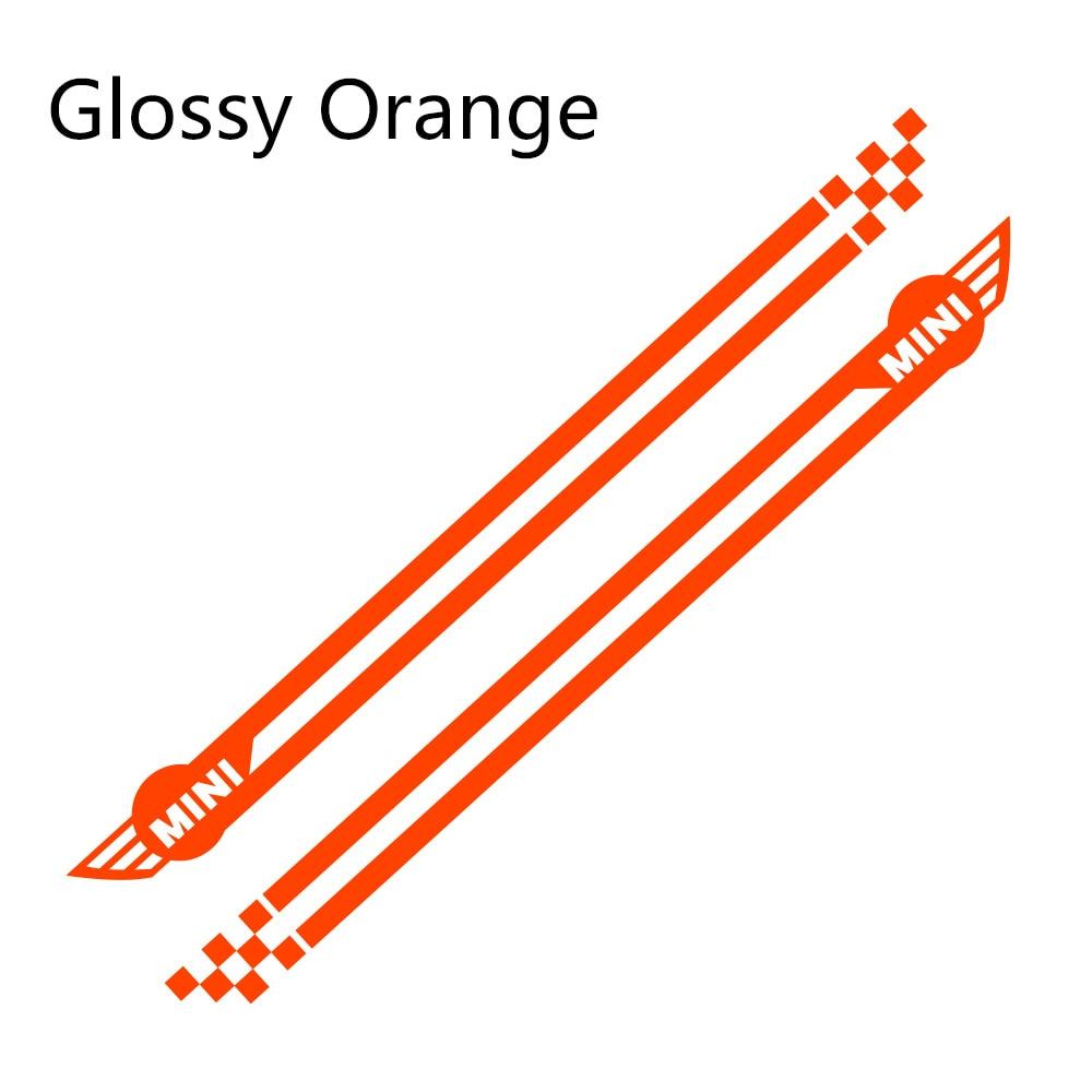 Наклейки для спортивных автомобилей длинные штаны с полосками, автомобильная виниловая наклейки своими руками для Mini Cooper R56 R57 R58 R50 R52 R53 R59 R61 R60 F60 F55 F56 F54 - Название цвета: Glossy Orange