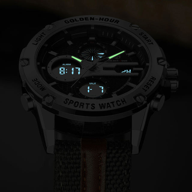 Men's Fashion Outdoor Sports Analog Digital Watches Waterproof LED Display