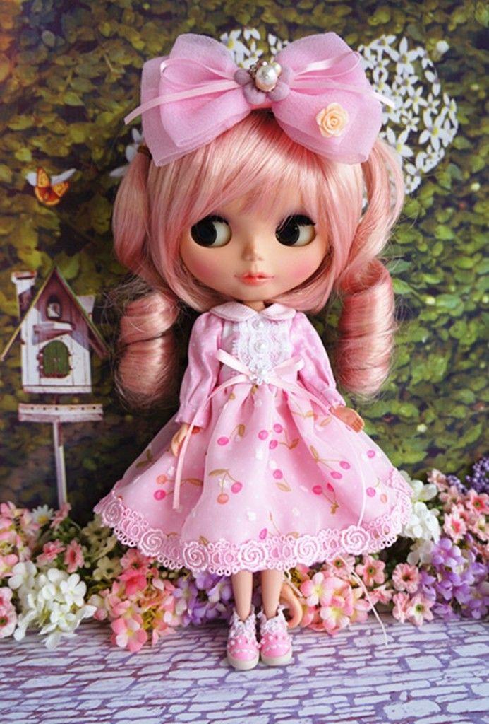 89# Pretty Handmade Lolita Blue Long Pink Dress For Blythe Pullip Doll трикотаж lolita angelic pretty