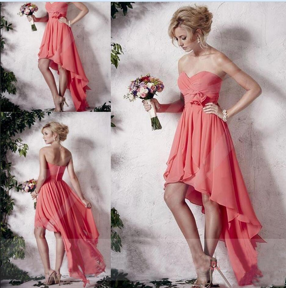 2017 coral high low short chiffon bridesmaid dress cheap junior 2017 coral high low short chiffon bridesmaid dress cheap junior maid of honor gowns under 100 prom party formal pink in bridesmaid dresses from weddings ombrellifo Gallery