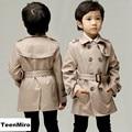 2017 Brand Boys Trench Coat Khaki Kids Windbreaker Children Spring Outdoor Parka Child Windproof Rainproof Classic Long Jacket