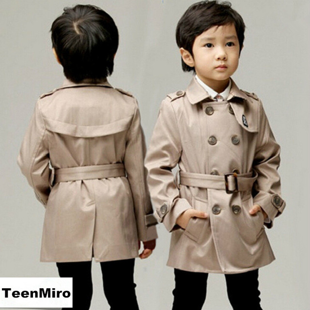 2017 Brand Boys Trench Coat Khaki Kids Windbreaker Children Spring Outdoor Parka Child Windproof Rainproof Classic Long Jacket