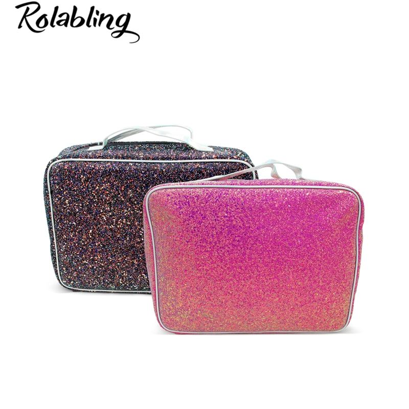 Rolabling Women Makeup Sequin Bag Cosmetic Case Nail Art Tool Organizer Nail Polish Storage Manicure Tool