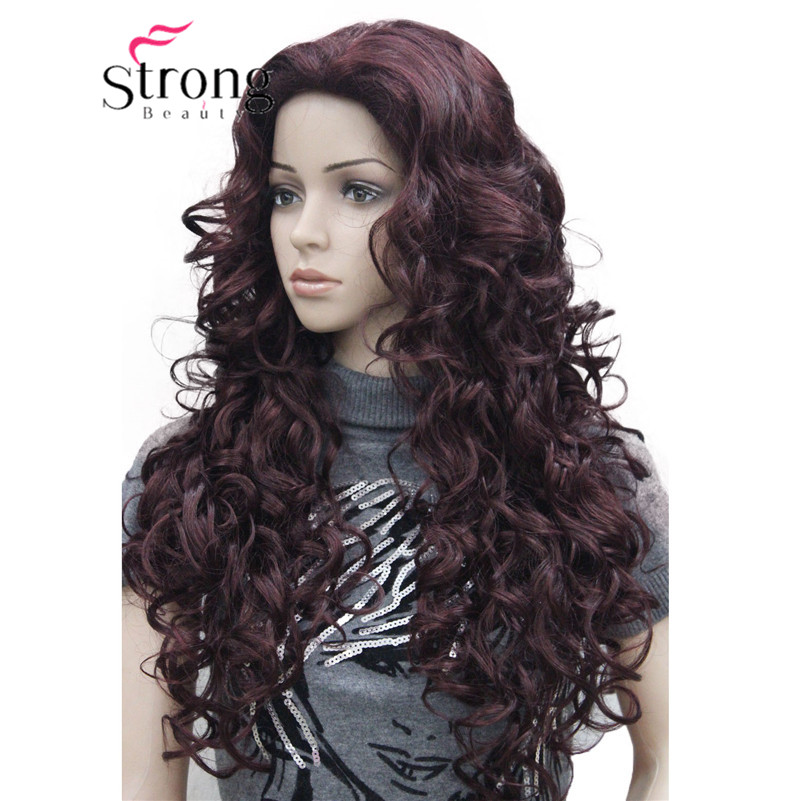 5950 99T fashion sexy Red Wine long curly womans full wig 99T(1)