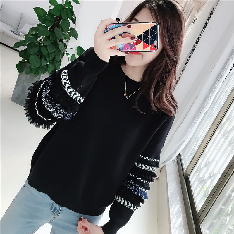 2019 New Autumn And Winter Sweaters And Pullover With Lace Casual Solid Color Long Sleeve Knitted Sweater