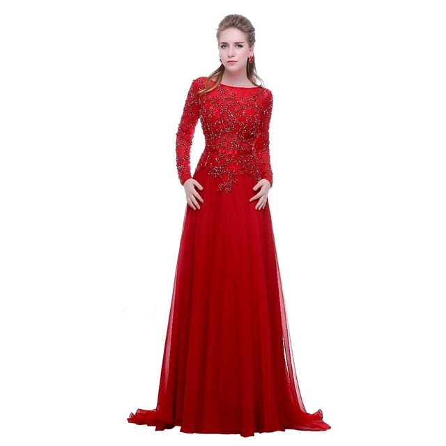 Finove Long Sleeve Prom Dresses 2017 Vestidos Sexy Lace With Scoop-Neck Beading Backless Zipper Chiffon Evening Dresses vestido