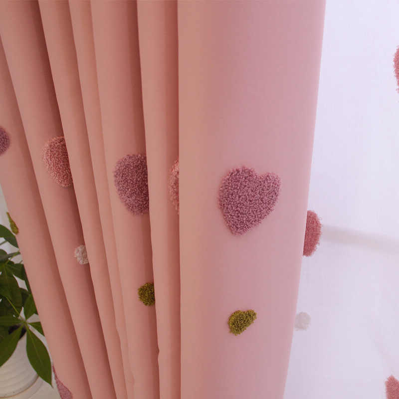 Pink Stereoscopic Love Embroidered Cute Curtain for Girl Baby Room Shade Drape Sheer Voile Fabrics for Window Bedroom M057-30