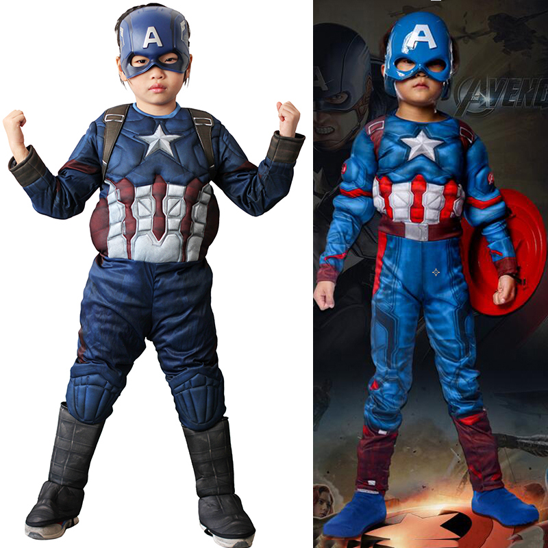 Classic Superhero Muscle Captain America Costume Kids Endgame Cosplay Superman Halloween Party Costumes For Boys Girls