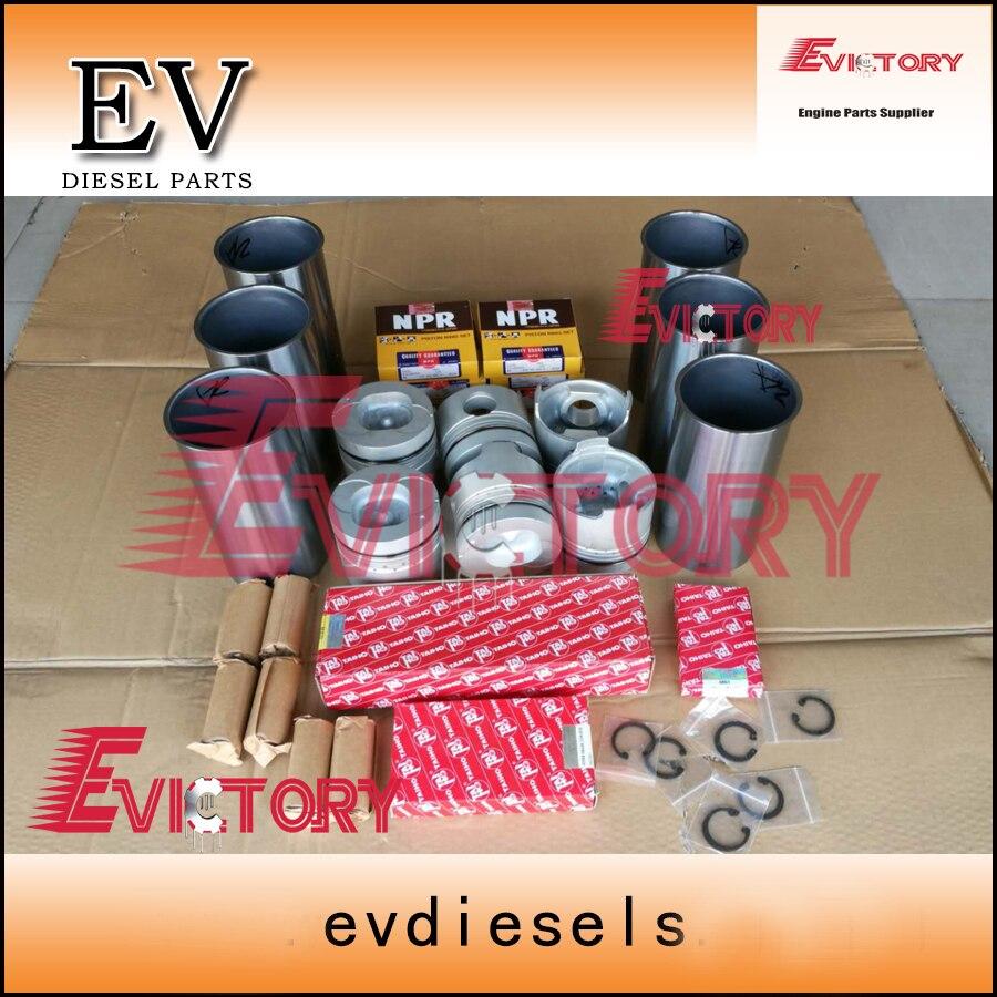 Für Isuzu 6BD1 motor rebuild kit 6BD1T kolben + ring zylinder liner Volle dichtungssatz und kurbelwelle & pleuel lager